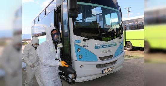 Halk Otobüsleri ve Taksiler Dezenfekte Edildi