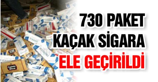 730 paket kaçak sigara ele geçirildi