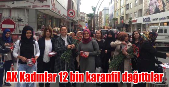 AK Kadınlar 12 bin karanfil dağıttılar