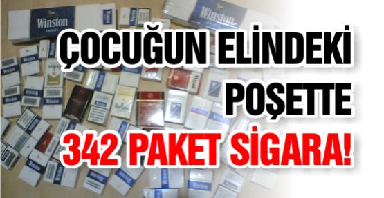 ÇOCUĞUN ELİNDEKİ POŞETTE 342 PAKET SİGARA!