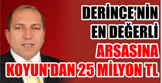 DERİNCE'NİN EN DEĞERLİ  ARSASINA KOYUN'DAN 25 MİLYON TL