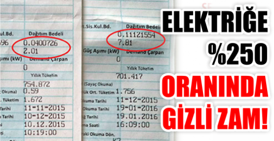 ELEKTRİĞE %250 ORANINDA GİZLİ ZAM!