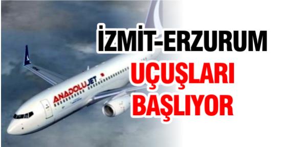 İzmit-Erzurum uçuşları başlıyor