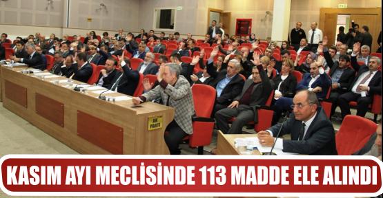 KASIM AYI MECLİSİNDE 113 MADDE ELE ALINDI