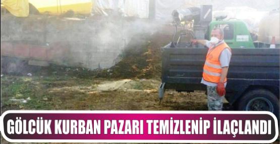 Kurban Pazar alanını ilaçlayıp temizledi