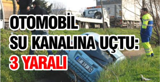 Otomobil Su Kanalına Uçtu: 3 Yaralı