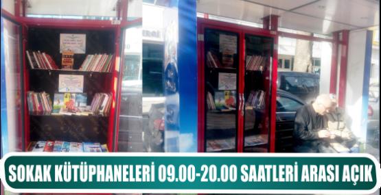 SOKAK KÜTÜPHANELERİ 09.00-20.00 SAATLERİ ARASI AÇIK