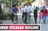 Genel Sekreter Büyükakın bisikletle tramvay güzergahını inceledi
