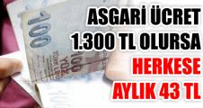 ASGARİ ÜCRET 1.300 TL OLURSA HERKESE AYLIK 43 TL