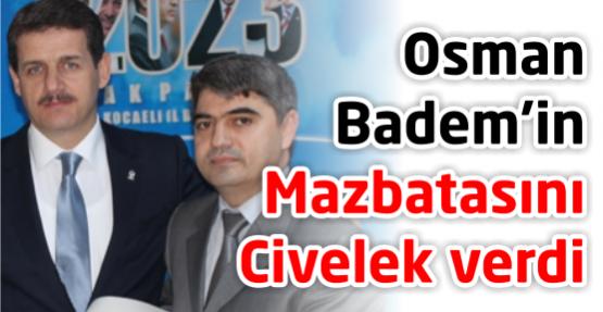 Yeni ilçe başkanları mazbatalarını aldı AKP'de Karamürsel ve Körfez ilçe başkanlığı görevine atanan Yıldırım ve Badem mazbatalarını aldı..