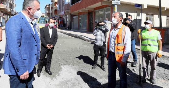 Başkan Büyükakın, Battalgazi Caddesi'ndeki Çalışmaları İnceledi