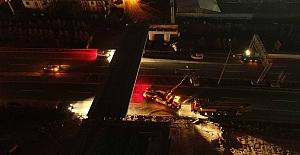 Otoyol Köprüsünde Kiriş Montajı Gece Yapıldı